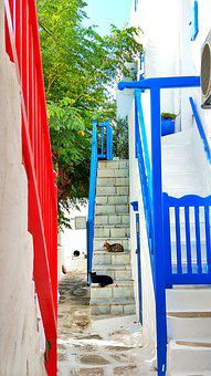Mykonos, Greece, Alley, Cats, Stairs, White, Blue, Red