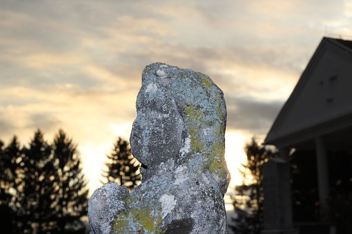 Stone Child Monument, Cemetery, Evening, Symbol