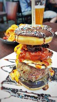 Donut, Burger, Fastfood, Food, Sprinkles, Hamburger