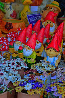 Dwarves, Garden Gnome, Color, Ceramic, Arts And Crafts