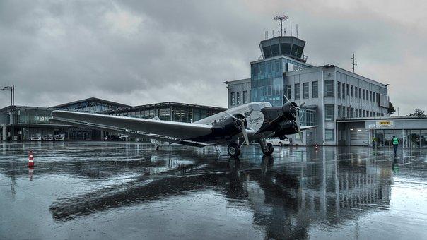 Airport, Junkers, Ju 52, Paderborn, Clouds, Aircraft