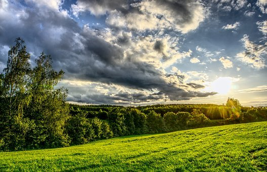 Sunset, Sunbeam, Sky, Clouds, Mood, Meadow, Green, Sun
