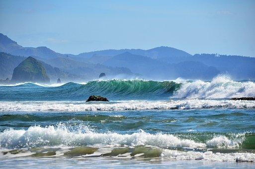 Coast, Waves, Beach, Rocks, Mountains, Ocean, Sea
