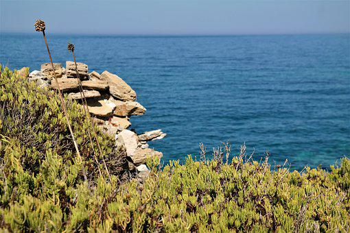 Sea, Plant, Stones, Ruin, Color, Greece, Methoni