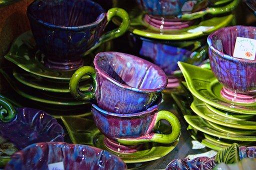 Ceramic, Color, Purple, Green, Ceramic Plug, Cups