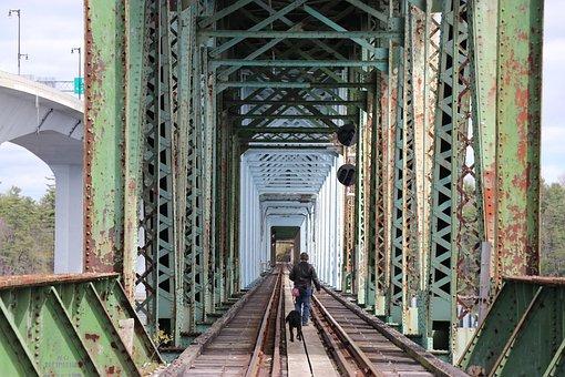 Collapsed Bridge Bath Maine, Railroad Tracks, Railroad