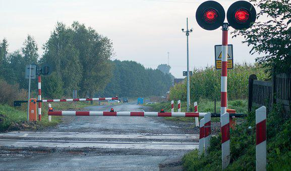 Tracks, Barrier, Railings, Railway Crossing