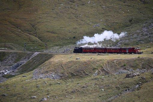 Train, Steam, Mountains, Alpine, Locomotive