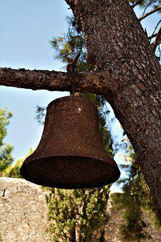 Bell, Rusted, Old, Tree, Ring, Metal, Castle, Fortress