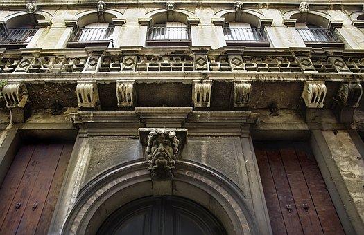 Head Sculpture, Venice, Door, Building, Italy