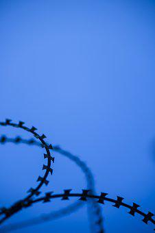 Barbed Wire, Sharp, Razor, Danger, Blue, Military, War