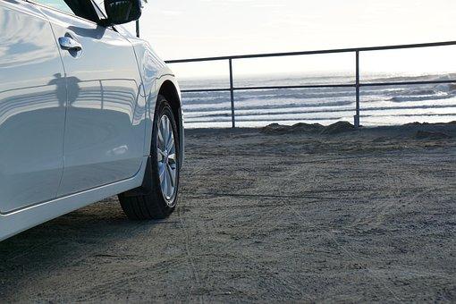 White, Car, Sea, Ocean, Wheel, Tie, Water, Wave, Trip