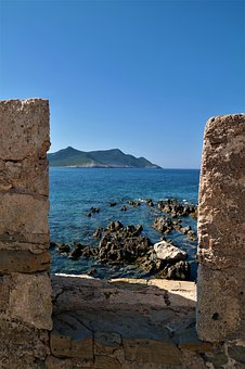Sea, Bank, Water, Stones, View, Greece, Methoni