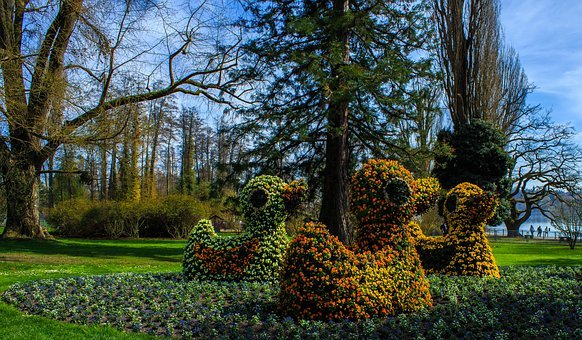 Floral Art, Ducks, Flowers, Colorful, Sculpture