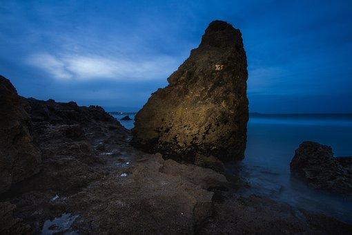 Rock, Sea, Seascape, Mozambique, Blue, Dusk, Blue Hour