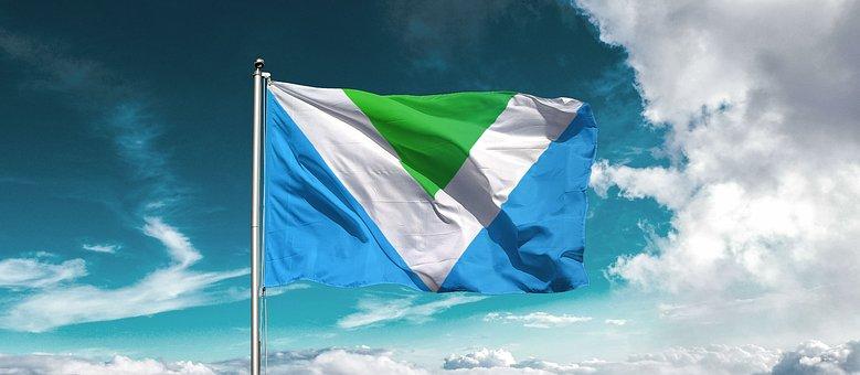 Vegan, Flag, Officiel, Air, Blue, Green, White, Clouds
