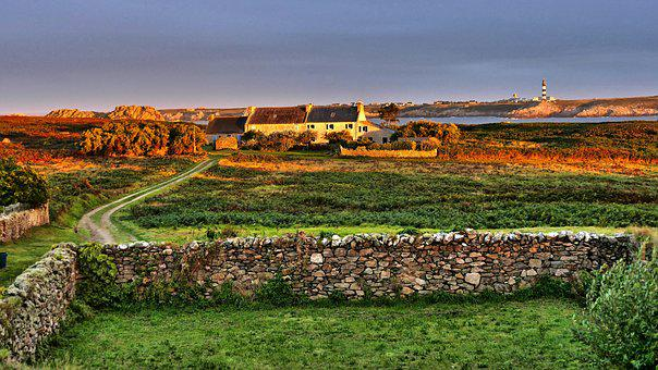 House, Ouessant, Brittany, Island, Landscape, Stones