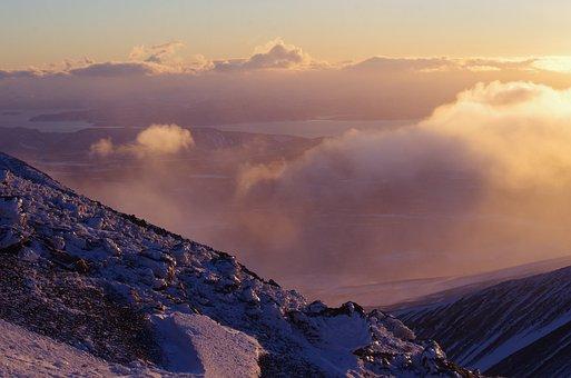 Volcanoes, Hill, Mountains, Evening, Winter, Sunset