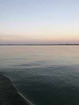 Calm, Sea, Gulf Of Mexico, Texas, Galveston, Sky, Blue