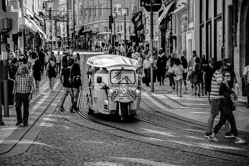Tuk Tuk, Postage, Portugal, Street, Urban, Transport