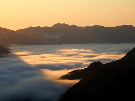 Mountains, Morning, Fog, Valley, Cloud, Sunrise, Nature