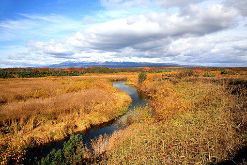 Tundra, River, Autumn, Clouds, Swamp, Water, Landscape