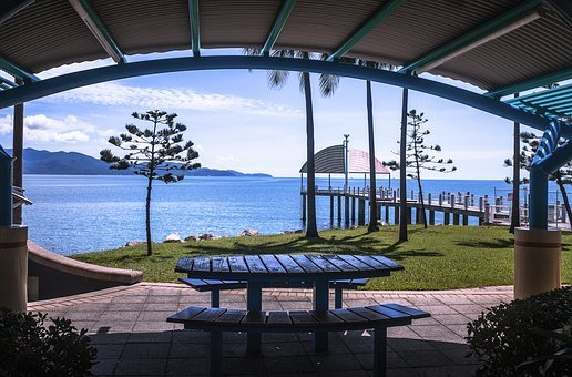 Strand, Townsville, Bbq Area, Table, And Chairs