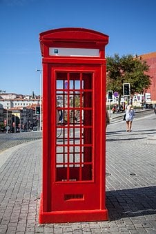 Booth, Red, Blue, Air, Colorful, Telephone, Phone Booth