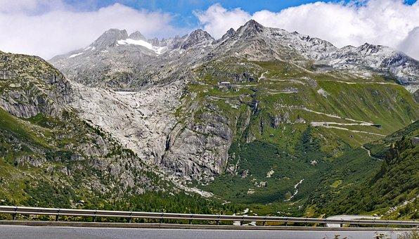 Furka Pass, Rhône Glacier, Rhônequelle, Valais