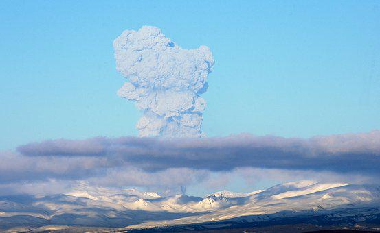 Volcano, The Eruption, A Plume Of Ash, Clouds