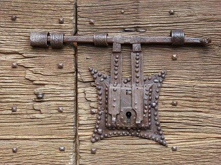 Lock, Wrought Iron, Door, Medieval, Cóll