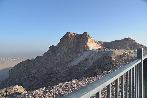 Al Ain, Mountain, Rail, Blue Sky