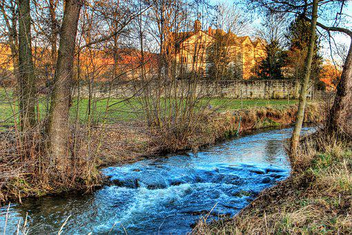 Bach, Creek, Water, Castle, Elmar Hausen