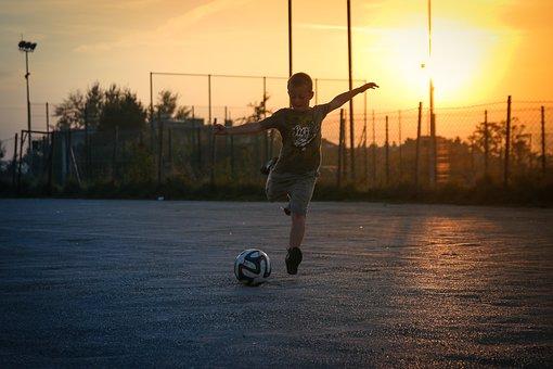 Player, Sunset, Boy, Football, Backyard, Fun, Game