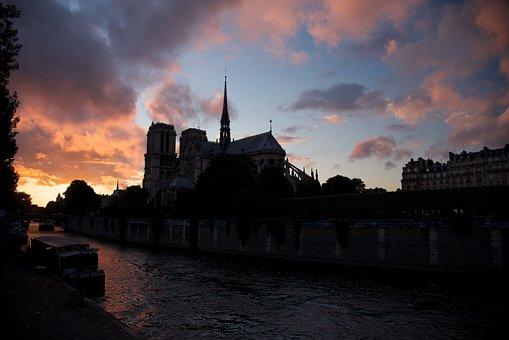 River, Notre-dame, Summer, Dusk, Heritage, Cityscape