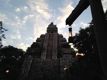 Ruins, Evening, Lamp, Torch, Civilization