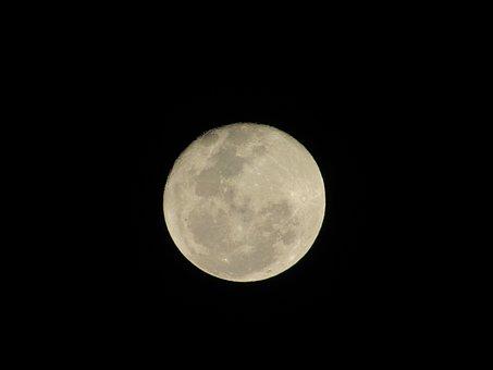 Moon, Sky, Black, Full Moon, Night, Ceu, Crescent Moon