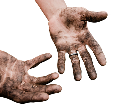 Hands, Dirty, Work, Dirt, Isolated, Exemption, Cropping