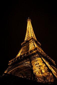 Eiffel, Tower, Night, Landmark, Architecture, French