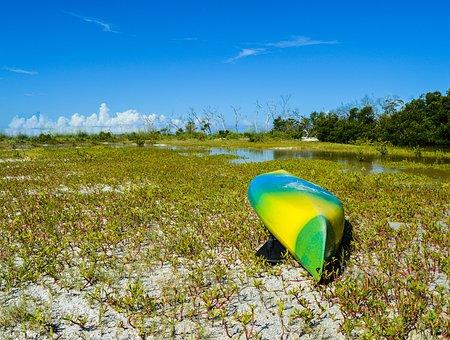 Kayak, Coast, Sand, Blue, Sky, Water, Nature, Sport