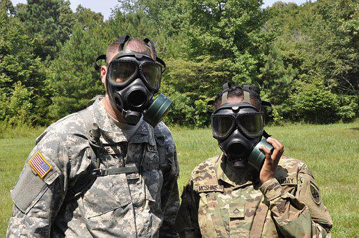 Gas Mask, Army, Soldiers, Training, Cbrn, Military