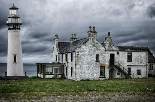 Lighthouse, Beach, Clouds, Thunder, House, Grass, Sky