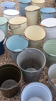 Bucket, Email, Vessel, Metal Bucket, Used, Sheet