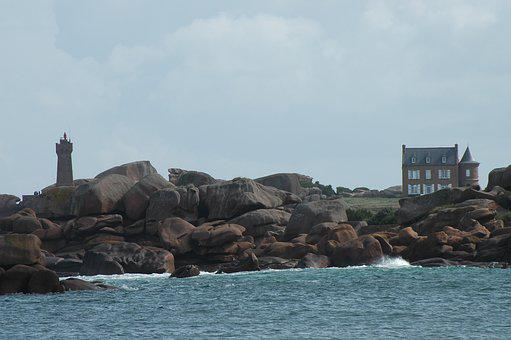 Brittany, Lighthouse, Rocky Coast, By The Sea, France