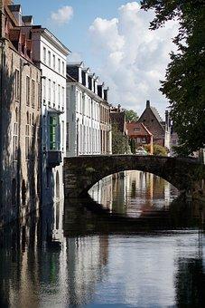 Bruges, Medieval, Bridge, Channel, City