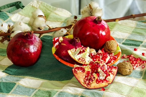 Pomegranates, Fruit, Still Life, Cotton, Composition