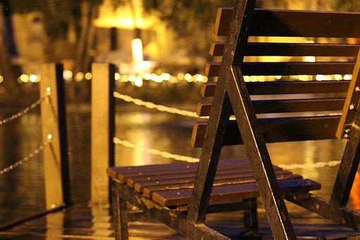 Chair, Budapest, Chain, Fence, Light, Night, Water