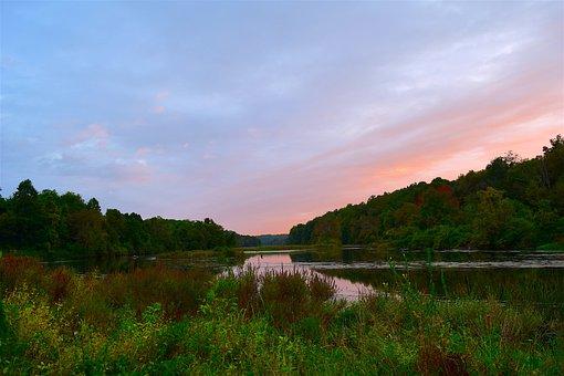 Sunset, Sky, Trees, Lake, Water, Nature, Sun, Landscape