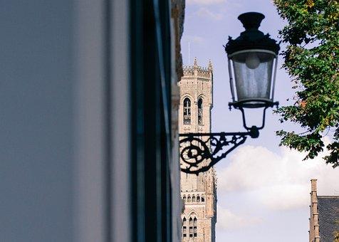 Bruges, Belfry, Lamp, Atmosphere