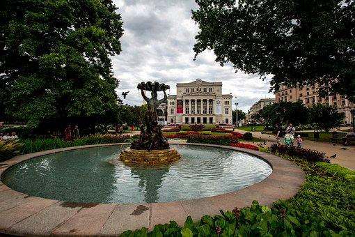 Riga, Fountain, Riga Opera, Park, Riga Nymph, Monument